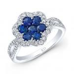 NATURAL COLOR WHITE GOLD VINTAGE SAPPHIRE FLOWER DIAMOND RING