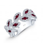 WHITE GOLD NATURAL COLOR VINTAGE ROUND RUBY DIAMOND RING