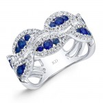 NATURAL COLOR WHITE GOLD FASHION SAPPHIRE WAVE DIAMOND RING