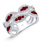 NATURAL COLOR WHITE GOLD FASHION RUBY WAVE DIAMOND RING