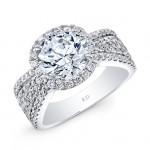WHITE GOLD INSPIRED VINTAGE ROUND HALO DIAMOND ENGAGEMENT RING