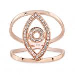 ROSE GOLD VERTICAL STYLISH EVIL EYE DIAMOND RING