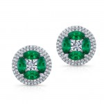 NATURAL COLOR WHITE GOLD EMERALD FLOWER DIAMOND EARRINGS