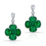 NATURAL COLOR WHITE GOLD EMERALD FLOWER DIAMOND DROP EARRINGS