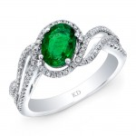 WHITE GOLD NATURAL COLOR INSPIRED EMERALD HALO  DIAMOND RING