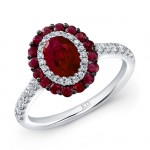 WHITE GOLD NATURAL COLOR DAZZLING RUBY DIAMOND RING