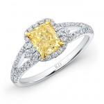 WHITE AND YELLOW GOLD FANCY YELLOW CUSHION DIAMOND HALO BRIDAL RING