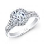 WHITE GOLD INSPIRED HALO DIAMOND ENGAGEMENT RING