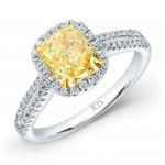WHITE AND YELLOW GOLD ELEGANT FANCY YELLOW DIAMOND  BRIDAL RING