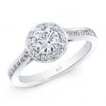 WHITE GOLD ROUND DIAMOND HALO ENGAGEMENT RING