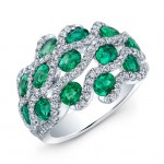 NATURAL COLOR WHITE GOLD FASHION EMERALD TWISTED DIAMOND RING