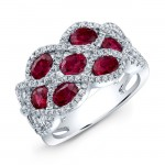 NATURAL COLOR WHITE GOLD INSPIRED FASHION RUBY DIAMOND RING