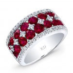 WHITE GOLD NATURAL COLOR ELEGANT RUBY DIAMOND RING