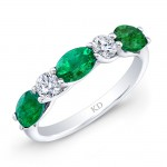 WHITE GOLD NATURAL COLOR INSPIRED EMERALD DIAMOND RING