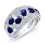 WHITE GOLD NATURAL COLOR FASHION SAPPHIRE DIAMOND RING