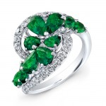 WHITE GOLD NATURAL COLOR DAZZLING EMERALD SWIRLED DIAMOND RING