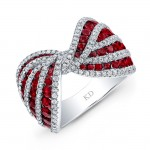 NATURAL COLOR WHITE GOLD INSPIRED RUBY BOW TIE DIAMOND RING