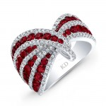 WHITE GOLD NATURAL COLOR CONTEMPORARY RUBY SWIRLED DIAMOND RING