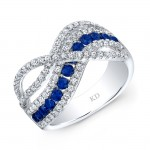 WHITE GOLD NATURAL COLOR CONTEMPORARY SAPPHIRE WAVE DIAMOND RING
