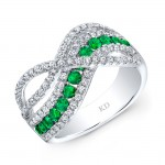 WHITE GOLD NATURAL COLOR CONTEMPORARY EMERALD WAVE DIAMOND RING