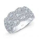 WHITE GOLD FASHION DIAMOND WAVE BAND