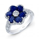 WHITE GOLD NATURAL COLOR INSPIRED SAPPHIRE FLOWER DIAMOND RING
