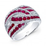 WHITE GOLD NATURAL COLOR TWISTED RUBY FASHiON DIAMOND RING