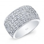 WHITE GOLD INSPIRED TRENDY MULTI ROWS DIAMOND BAND