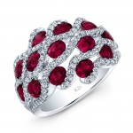 NATURAL COLOR WHITE GOLD FASHION RUBY TWISTED DIAMOND RING