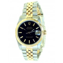 36mm Rolex Two-Tone Datejust . Black Dial. 16233