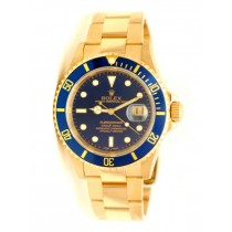 40mm Rolex Submariner Yellow Gold  Blue Dial 16618