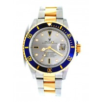 40mm Rolex Two-Tone Submariner Slate Serti 16613