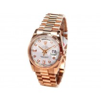 36mm Rolex 18K Rose Gold  Daydate Silver Diamond Dial 118235.