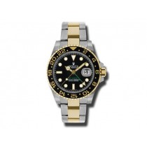 40mm Rolex Two-Tone GMT-Master II Watch. Black Ceramic 116713.