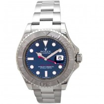 40mm Rolex Stainless Steel Yachtmaster Watch. Blue Dial. Platinum Bezel 116622.