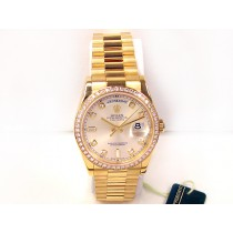 36mm Rolex 18K Yellow Gold  Daydate Watch. Silver  Diamond 118348.