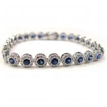Ladies 18K White Gold Bracelet with Diamonds and Sapphire