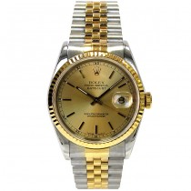 36mm Rolex Two-Tone Datejust  Champagne Dial 16233.