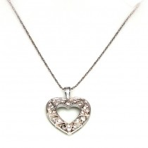 White Gold Necklace with Heart Diamond Pendant