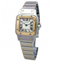 Small Cartier 18k Gold & Stainless Steel Santos Galbee W20012C4.