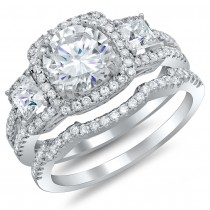 Ladies White Gold Diamond Ring  with 1.00ct in center and 74 round diamond on side. And matching White Gold Band