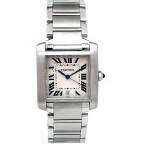 Large Cartier Stainless Steel Tank Francaise W51002Q3.