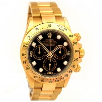 40mm  Rolex 18k Yellow Gold  Daytona Cosmograph Diamond Dial 116528.