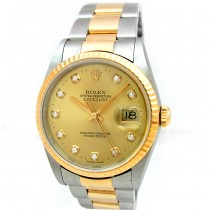 36mm Rolex Two Tone Datejust Diamond Dial 16233