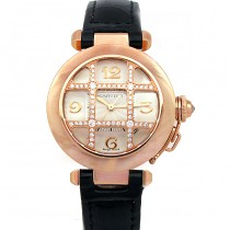 32mm Cartier 18k Rose Gold Pasha Diamond Grid WJ116836.