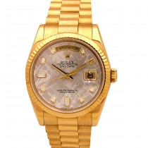 36mm Rolex 18k Gold Daydate Meteorite Diamond Dial 118238.