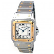 Large Cartier Two-Tone Santos Galbee Watch.