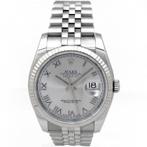 36mm Rolex Steel Datejust Rhodium Roman 116234.