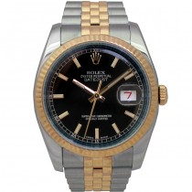 36mm  Rolex Two-Tone Datejust Black Dial 116233.