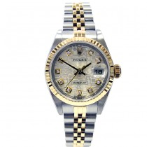 26mm Rolex Two-Tone Datejust Silver Jubilee Diamond Dial 79173.